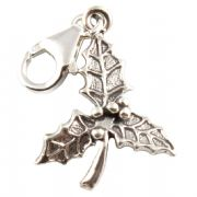 Holly Leaf 3D Sterling Silver Clip On Charm - With Clasp - Christmas